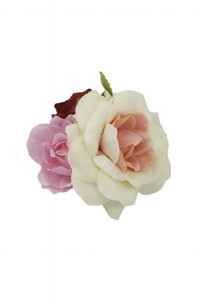 Trachten Haarclip Blütengesteck, weiß/rosa