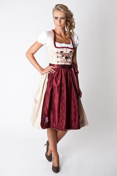 Dirndl Heidi, creme/dunkelrot