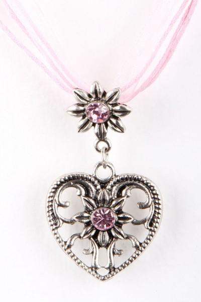 Trachtenkette Großes Herz, rosa