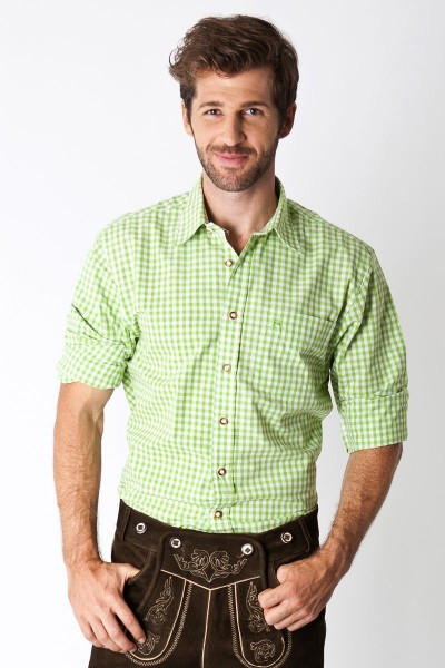 Trachten Hemd Schwabing, apfelgrün/weiß