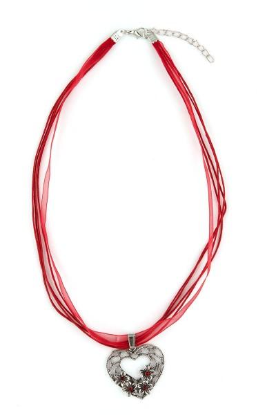 Trachten Halskette Herz mit Blümchen, rot