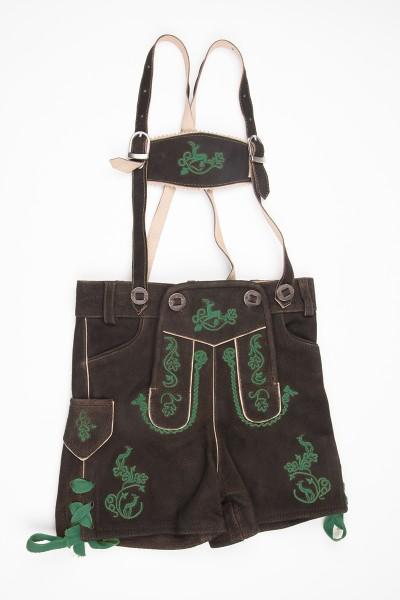 Kinderlederhose Max, dunkelbraun/grün