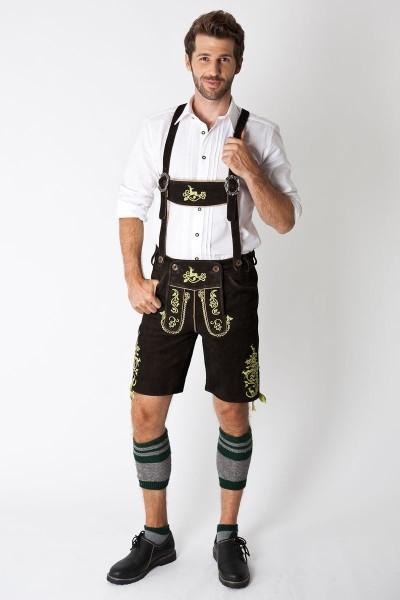 Trachten Lederhose Georg kurz, schwarz/grün