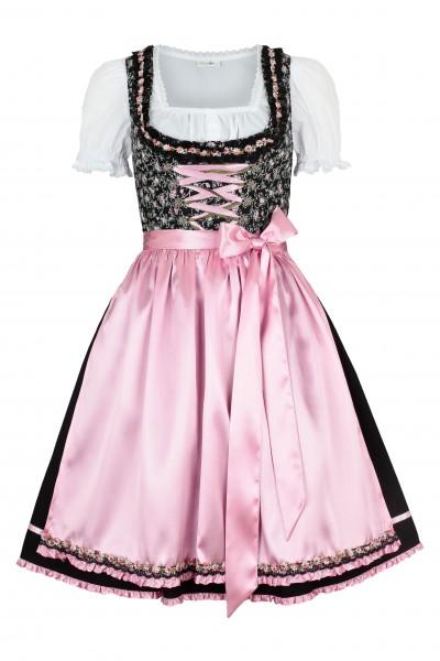 Mini Dirndl-Set Tina, schwarz/rosa