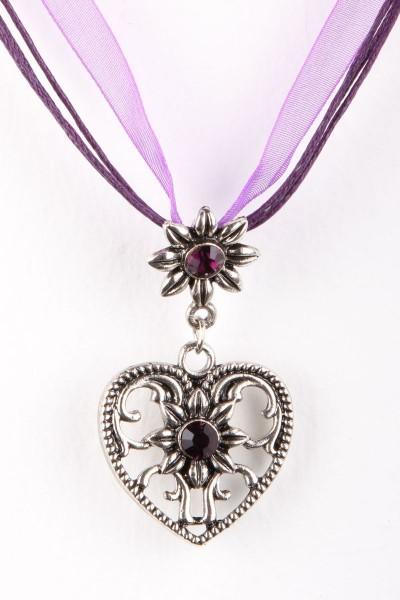 Trachtenkette Großes Herz, violett
