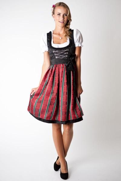 Trachten Dirndl-Set Loretta midi, schwarz/ rot grün