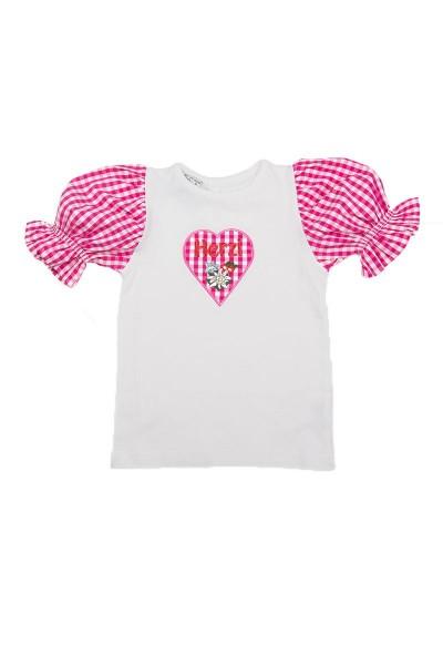 Trachtenshirt Herzi, weiß/pink