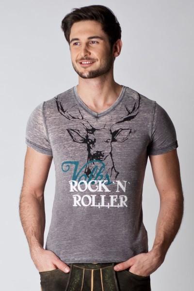 Herren Trachten Shirt Felix, dunkelgrau/blau