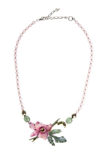 Trachtenhalskette, rosa/grün