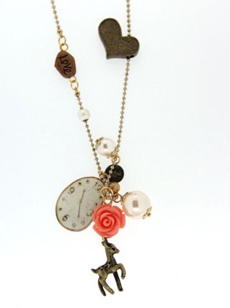 Trachtenkette Petit Faon, gold/rose