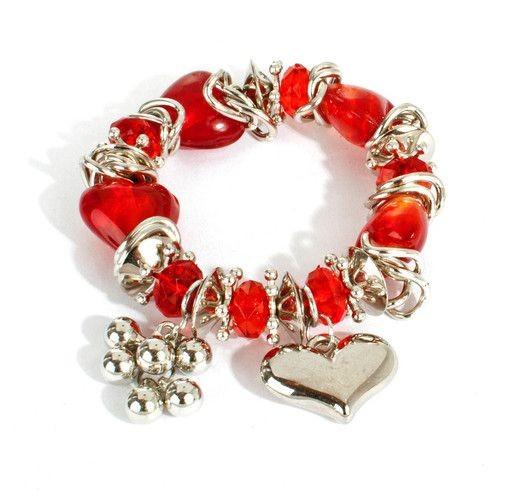 Trachtenarmband Herzdame, rot