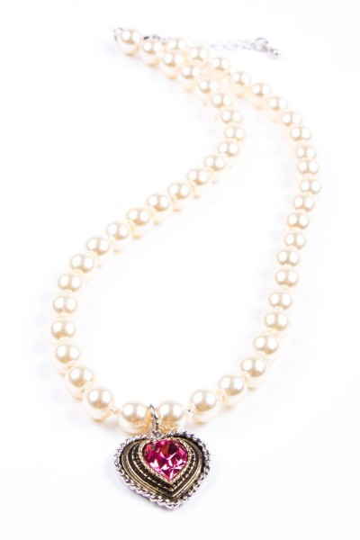 Trachtenkette Perlen mit Herz, perlmutt/rosa