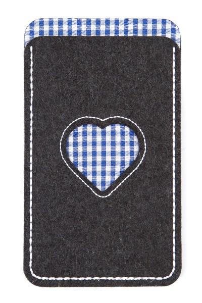 Handytasche Herz, grau/blau