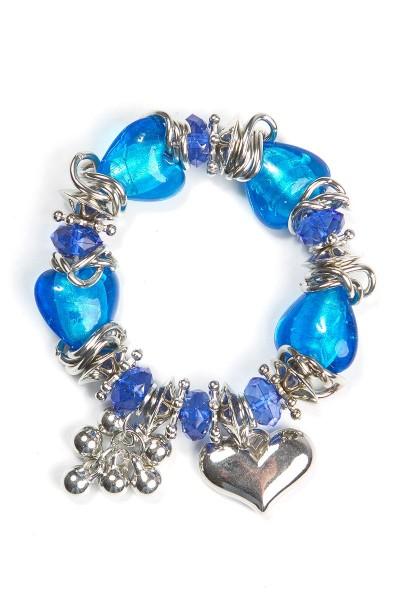 Trachtenarmband Herzdame, blau