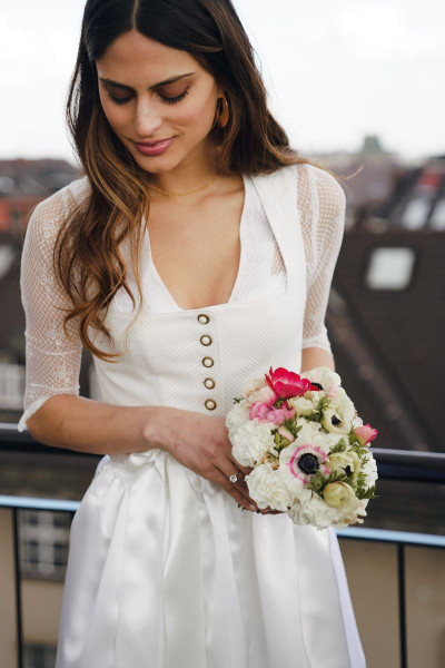 Midi Dirndl Charlotte, bridal cream