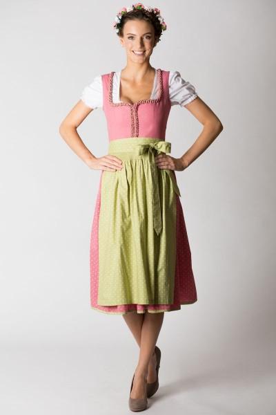 Midi Dirndl Rosalinde, rosa/grün