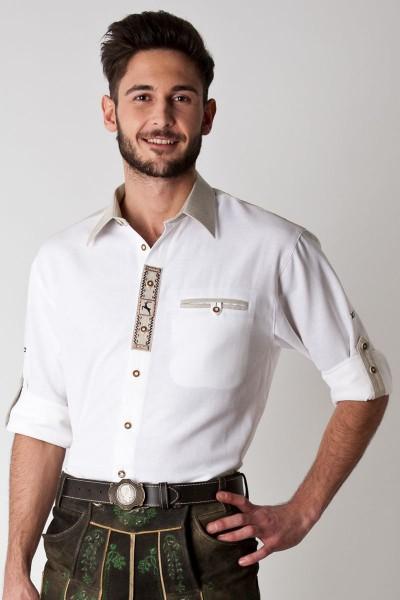 Trachten Hemd Erik, weiß beige