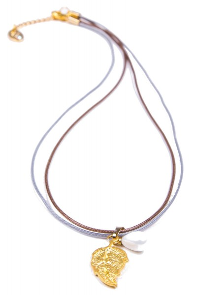 Trachtenkette mit vergoldetem Blatt, gold