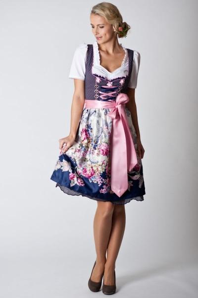 Dirndl Christina, dunkelblau/rosa