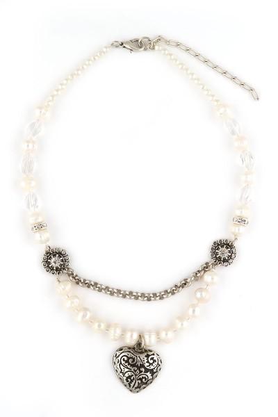 Trachten Halskette Perlentraum, weiß/silber