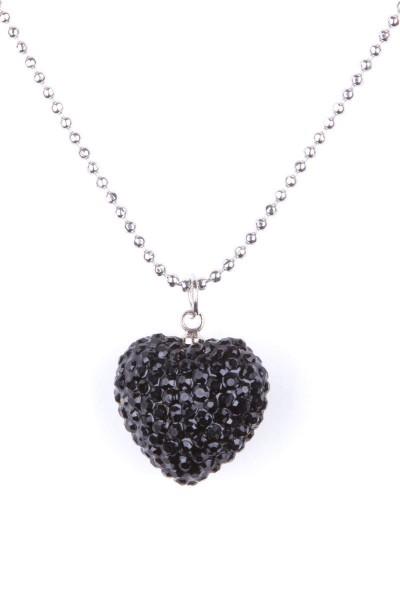 Trachtenkette Strassstein-Herz, schwarz