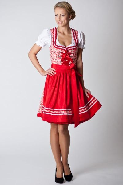 Trachten Dirndl Doro, rot/weiß