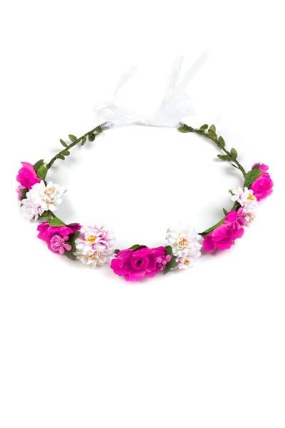 Trachten Blumenkranz Fee, pink/weiß