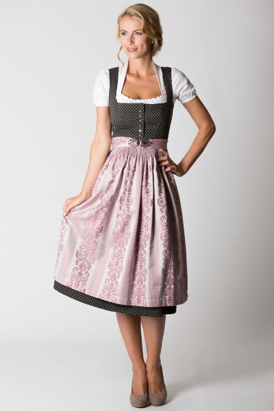 Midi Dirndl Monika, schwarz/rosa