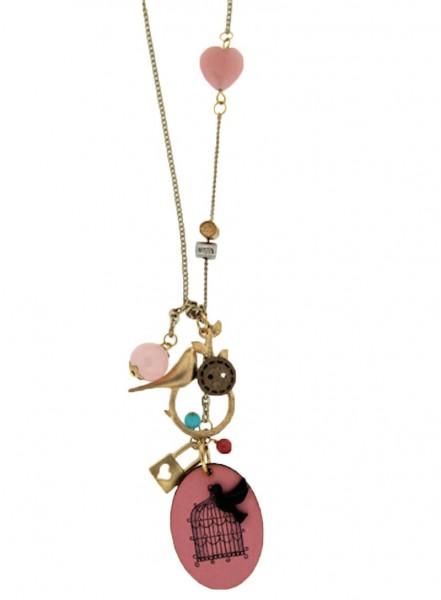 Trachtenkette Petit Oiseau, gold/pink
