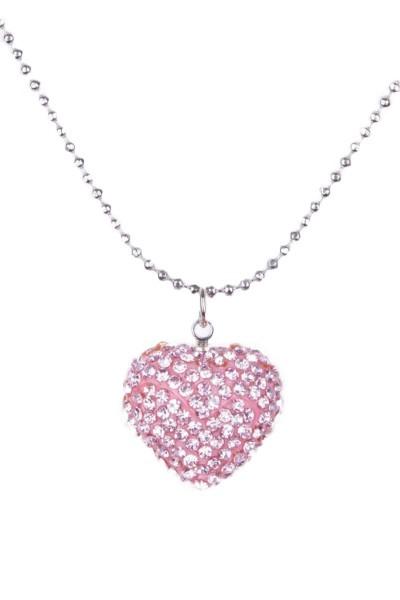 Trachtenkette Strassstein-Herz, rosa