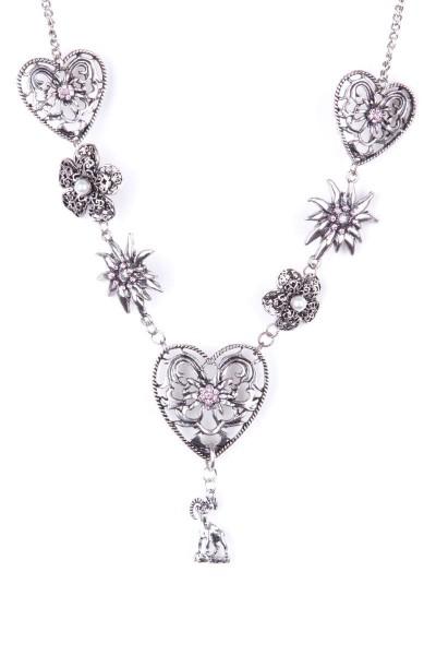 Trachtenkette Herz mit Steinbock-Anhänger, rosa/silber