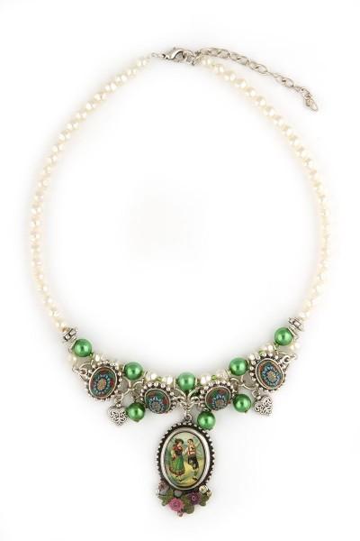 Trachten Halskette Alpenromantik, weiß/grün