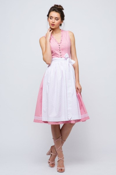 Midi Dirndl Cosima, rosa/weiß