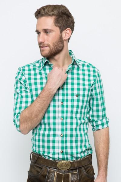 Trachtenhemd Nico, dunkelgrün/weiss