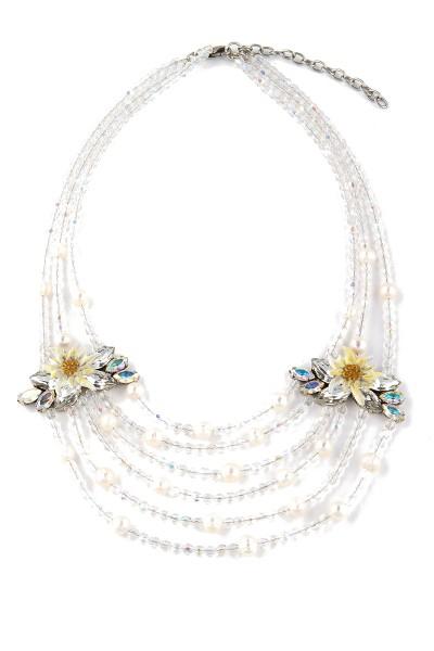 Trachten Halskette Bergkristall, weiß