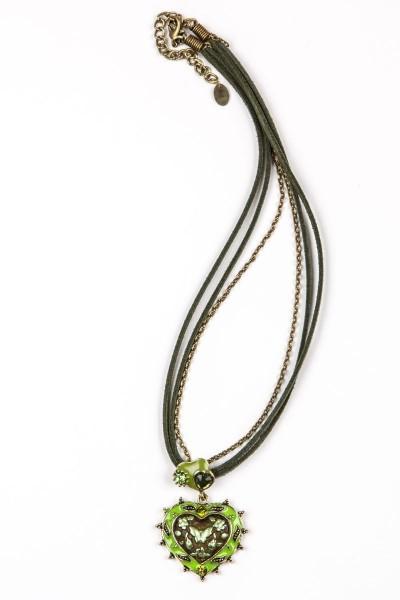 Trachtenkette Herzanhänger, grün