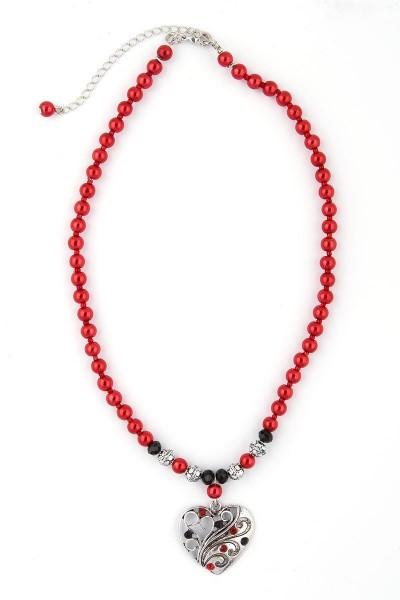 Trachtenkette Silberherz, rot