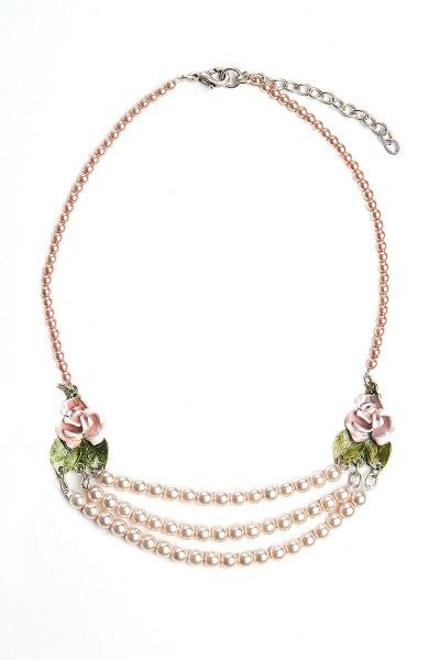 Trachtenkette Perlenpracht, rosa