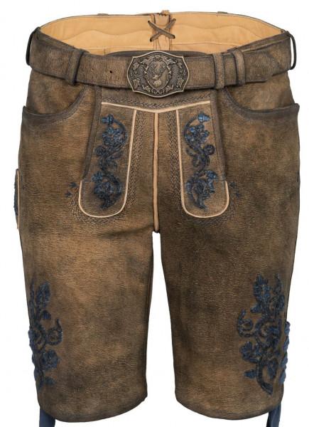 Kurze Lederhose Degenhard, braun/blau