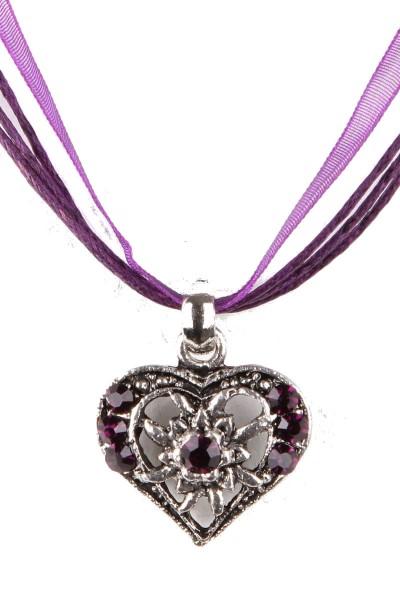 Trachtenkette Kleines Herz, violett