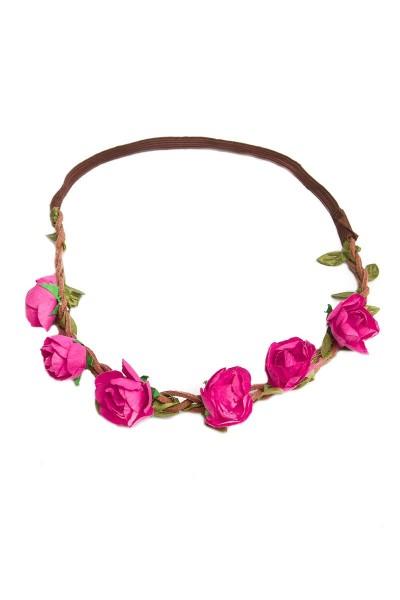 Trachten Kopfband Röschen, pink
