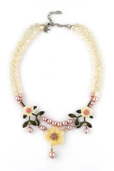 Trachten Halskette Blumenfee, weiß/rosa