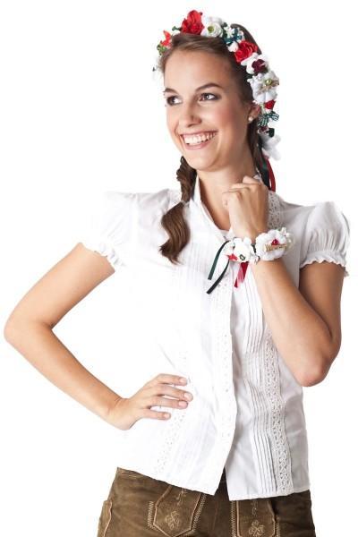Trachten Haarschmuck Blumenkranz, weiß/rot