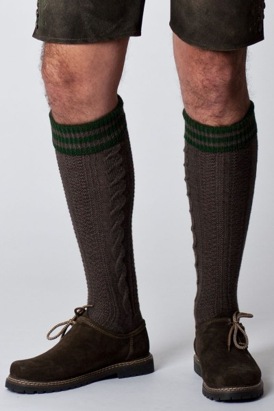 Trachten Socken Lindau, braun/grün