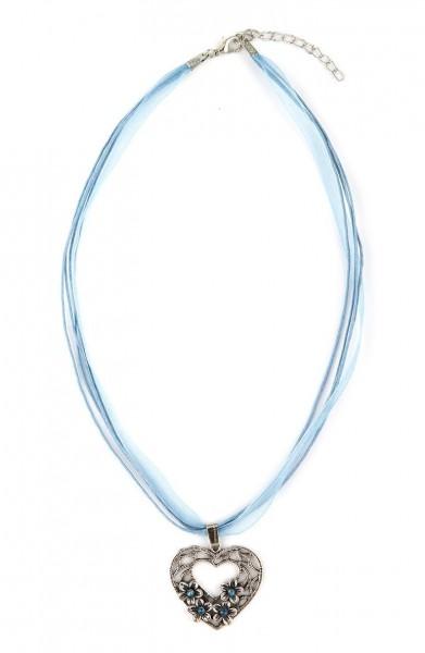 Trachten Halskette Herz mit Blümchen, hellblau