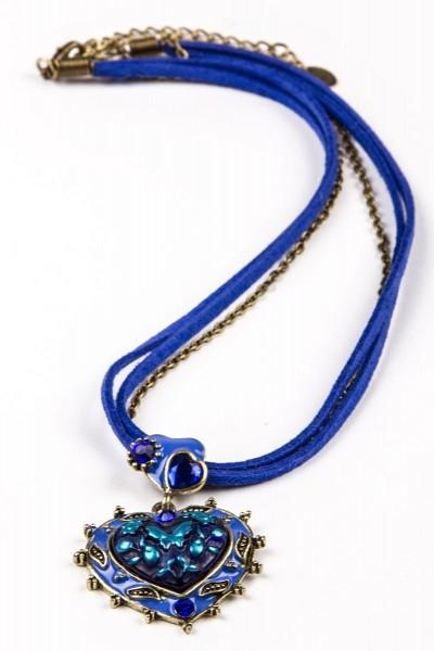 Trachtenkette Herzanhänger, blau