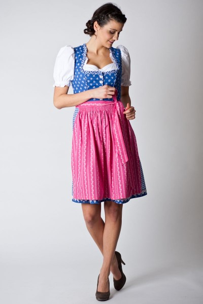 Trachten Dirndl Cornelia, blau/pink