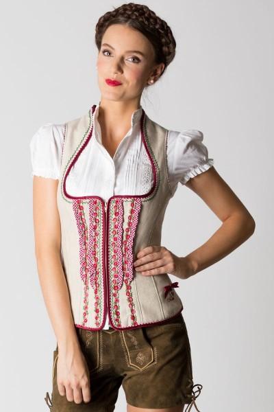 Trachtenmieder Silke, beige/rot