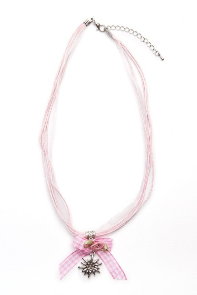 Trachtenkette Edelweiß mit Schleife, rosa
